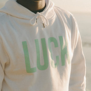 "Unisex White Hoodie Mint ""LUCK"""