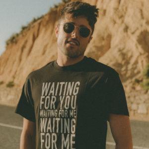 "Black Crew T-Shirt - ""Waiting for You"" Print"